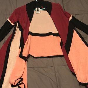 BCBG Max Azria drapey color block cardigan. small.